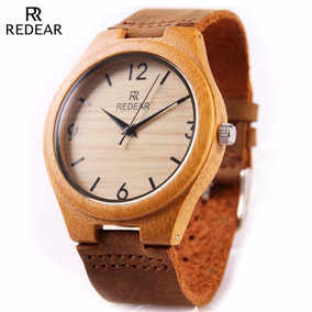 Reloj Hombre Madera Bambú Bamboo Vintage Elegante Cuero Fino
