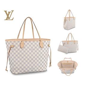 Bolsa Dama Louis Vuitton Neverfull Mm Damier Azur Piel