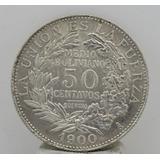 Antigua Moneda Bolivia 50 Centavos Plata Maciza 1900