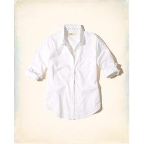 Hollister Camisa Dama Blanca Front Patterned Talla M