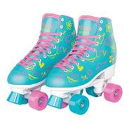 Patins 4 Rodas Retrô Clássico Azul E Rosa Menina Rollerskate