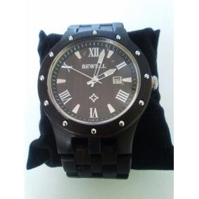 Reloj Hombre De Madera En Color Ébano, Casual Y Exclusivo