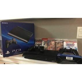 Video Game Sony Playstation 3 Slim + 5 Jogos + 2 Controle