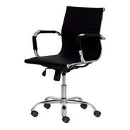Cadeira Escritório Stripes Diretor Pu Preta Base Giratória