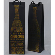 Bolsas Regalo Botella Carton Estampado Reforzadas Pack X3