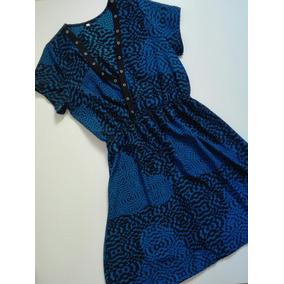 Vestido Negro Y Azul Corto