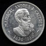 Moneda De Plata Conmemorativa Caceres 100 Intis 1986 Unc