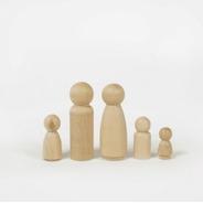 Familia De Madera Forma Humana Waldorf Montessori X5 Pegland