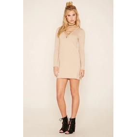 Forever 21 Vestido Sweater Tejido Stretch Beige Cordones Med