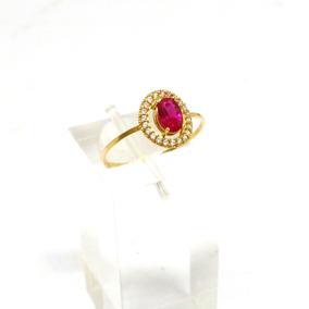 Anel Pedra Vermelha Ouro 18k 750 Feminino Cravejado Zircônia