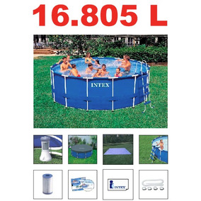 Piscina 5000 lts estrutura de ferro intex ar livre for Piscina inflavel arco iris intex playground com escorregador
