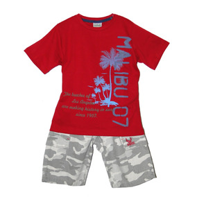 Conjunto Infantil Camiseta Malibu E Bermuda Camuflada Mani