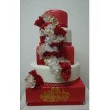 Bolo Maquete Casamento Vermelho E Dourado