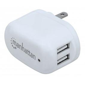 Manhattan Cargador Celular De Pared Usb 1a Y 2.1a Blanco /m