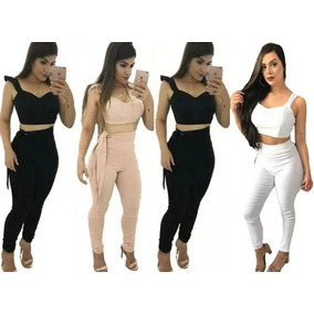 Conjunto Calça E Cropped Laço Lateral Cintura Alta Feminina