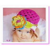 Gorros Tejidos A Crochet 1 Flor Niñas