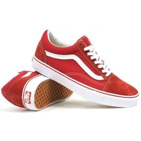 vans rojas suela marron