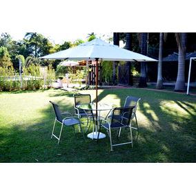 Jogo De Mesa 4 Cadeiras Guarda Sol Para Varanda Sala Piscina