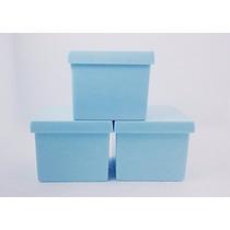 60 Caixinha Acrílica 4x4 Azul Bebe - Caixa P/ Festa Infantil