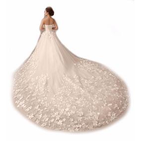 Vl13 Vestido De Noiva Princesa Importado Flores Frete Grátis