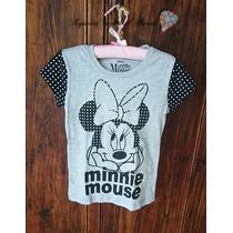Remera Minnie Mouse Mujer Nena Manga Corta Original