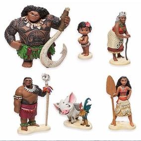 Kit Infantil Com 6 Bonecos Moana Maui Puá Hei Hei