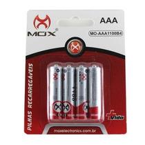 Pilha Bateria Pequena Aaa 1100 Mah C/4 Mox Recarregável