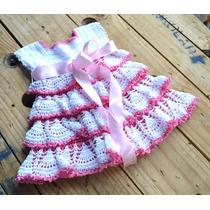 Vestido Crochê Para Bebês Com Babados