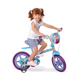 Bicicleta Frozen Rosa Aro 12 Com Rodinhas Bandeirante Menina