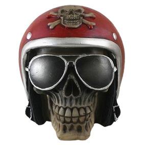 Cranio Caveira Capacete Motoqueiro Decorativo Resina