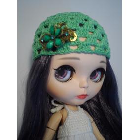 Touca Verde Piscina Crochê Bonecas Blythe E Icy - Flor