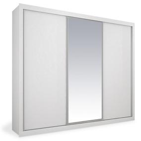 Armário 3 Portas De Correr Com Espelho, Branco, Premium Plus