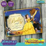La Bella Y La Bestia - Invitaciones Digitales Personalizadas