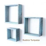 Repisas Marcos Cuadros De Madera Vintage Rustico Set De 3