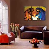 Arte Abstracto Cuadro Triptico Moderno Oleo Sobre Lienzo #2