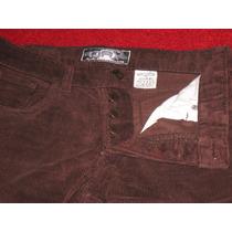 Pantalon De Corderoy Color Chocolate Tiro Medio Con Botones