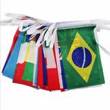 Kit Varal Bandeira Bandeirinha Bandeirola 100 Países 20x30cm