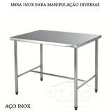 Mesa Inox Para Manipulação Alimento 190x70x80 Cm - 01 Divis