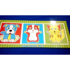 Puzzle Infantil 3 En 1 +2años Madera Pintada