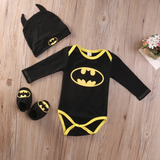 Roupa Bebê Batman Manga Longa Touca Sapatinho Verão Conjunto