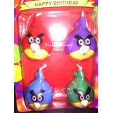 4 Angry Brids Velas Para Torta Cumpleaños Fiesta Juguete New