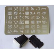 Placas Decalque Adesivo Para Unha + Carimbo Estrela Flores