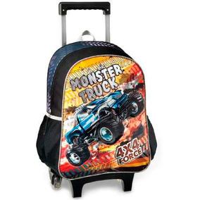 Mochila Escolar Menino Infantil Monster Truck Cadernos