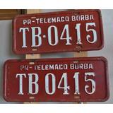 Antigo Par De Placa De Carro Vermelha Pr Telemaco Borba Tb04