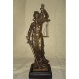 Estatua Figura De La Justicia Mediana En Petit Bronce!!