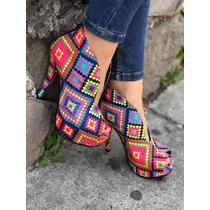 Zapatillas Botines Tribal De Colores