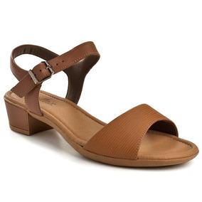 Sandália Salto Baixo Usaflex - Marrom