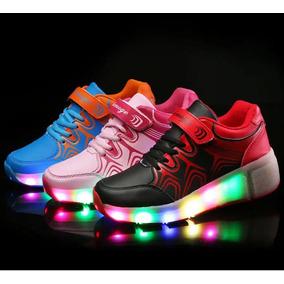 Zapatillas Con Luces Led Y Rueditas Tipo Skate