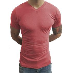Kit Com 3 Camisas Slim Gola V Rasinha Masculina Com Elastano