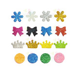 Kit C/100 Apliques De Eva Glitter Diversas Cores - Tamanho P